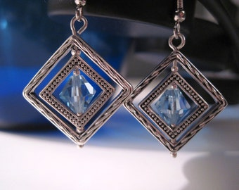 Spinning Sapphire & Silver Swarovski Earrings