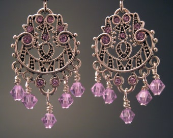Sparkling Lilac Swarovski Chandelier Earrings