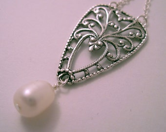 Silver Filigree Necklace with Freshwater Pearl Dangle REDUCED PRICE