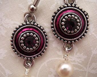 Royal Plum & Pearl Earrings