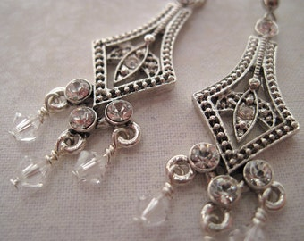 Parisian Elegance with Clear Swarovski Crystal Dangles REDUCED PRICE