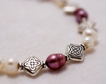 Etched Silver and Freshwater Pearls Bracelet
