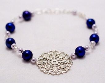 Silver Snowflake & Pearls Bracelet