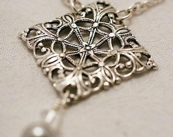 Silver Filigree Diamond & Swarovski Pearls Necklace