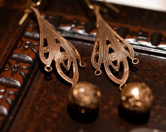 Bewitching Brass & Pearl Earrings