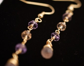 Rose Quartz & Ametrine Gold Earrings