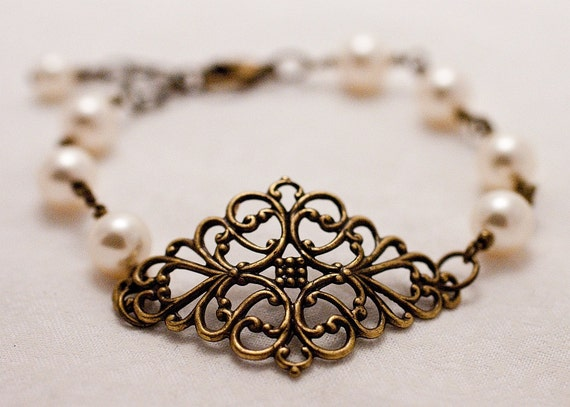 Antique Brass Filigree Bracelet with Pearls