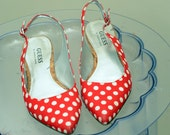 Spring time polked dotted red Guess Marciano Flats size 7