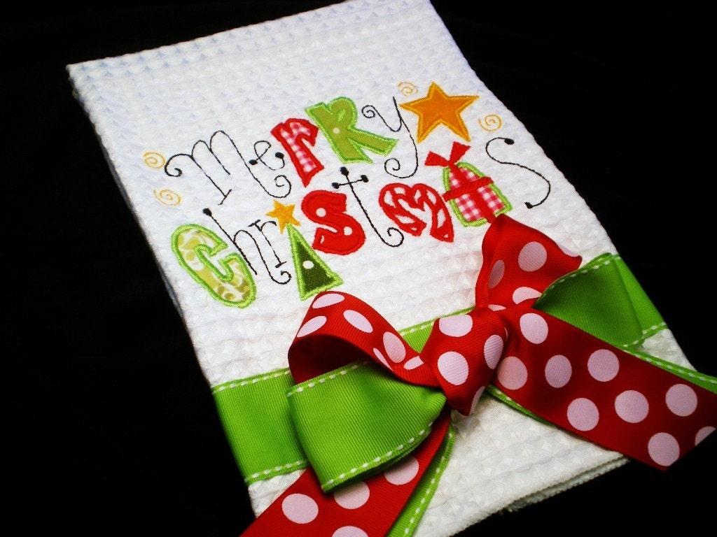 merry christmas tea towel