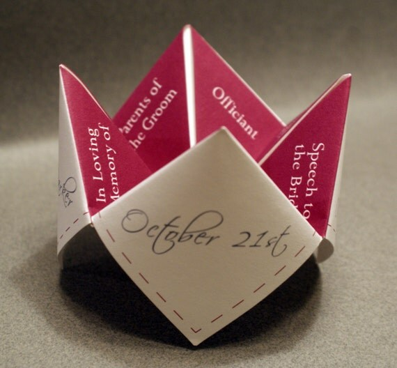 Wedding Program, Cootie Catcher, DIY, Ceremony, Favor, Decoration, Personalized, Custom, Invitation, Printable, Unique Wedding, Place Cards