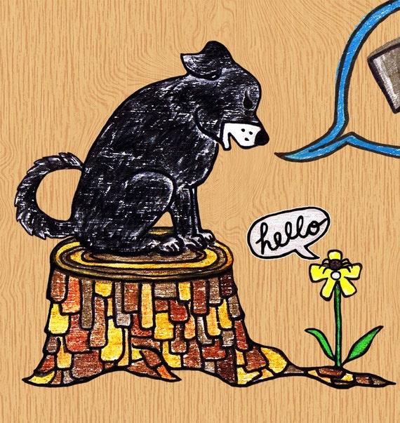 Dog Illustration - Black Dog, Flower and Spider WOOF Art Print