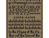 Primitive HORNBOOK SAMPLER Monochrome Cross Stitch Chart