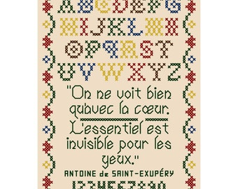 WITH THE HEART Cross Stitch Sampler Chart