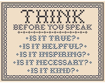 Think Before You Speak (Traditional Version) Cross Stitch Chart