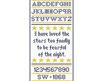 I Have Loved the Stars Cross Stitch Sampler Chart