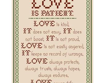 LOVE IS PATIENT... Cross Stitch Chart