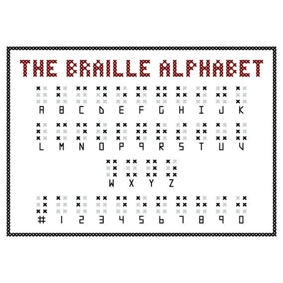 BRAILLE ALPHABET Cross Stitch Sampler Pattern