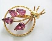 VIntage Gold and Pink Rhinestone Brooch