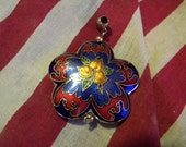 Vintage Cloisonne Enemel Pendant Flower Royal Blue