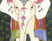 ELEPHANT aceo watercolor 'RAJ' giclee PRINT - Free Shipping