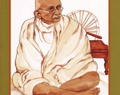 MAHATMA GANDHI greeting card watercolor spiritual saints and sages