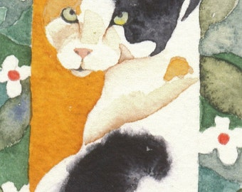 Calico cat ACEO PRINT watercolor giclee JUNIPER - Free Shipping