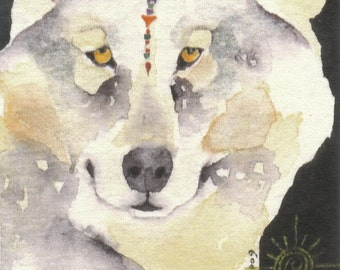 Grey WOLF watercolor ACEO - Il Lupo Sun - giclee PRINT - Free Shipping