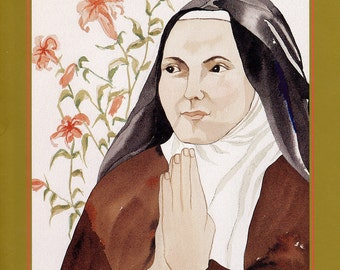 TERESE OF LISIEUX greeting card watercolor spiritual saints and sages
