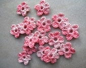 Crochet flower embellishment, appliques, variegated pink x 16