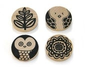 Wooden Forest Hand Screen Printed Brooch