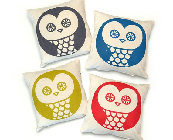 Handmade Pillow Cover OWL · 13 x 13 in · Screenprinted cotton ·  Decorative pillow · Throw pillow · Accent pillow · Insert NOT included