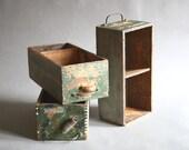 Three Vintage Industrial Wood Drawers