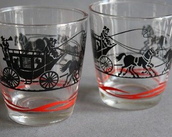 Two Vintage Stage Coach Sour Cream Glasses