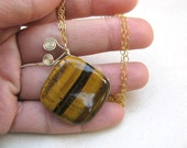 Tiger eye necklace, gold necklace, square gemstone, 14kt gold filled, gemstone necklace, classic jewelry, August Birthstone