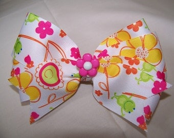 Summery Multi Colored Boutique Bow with Matching Flower Center