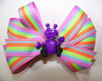 Multi Colored Boutique Bow with Robot Middle