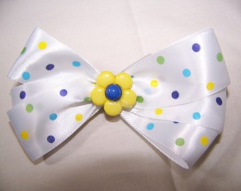 White Poka Dotted Boutique Bow with a Flowered Center