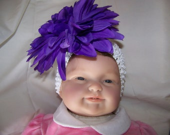Large Purple Mum Barrette on Wide White Headband