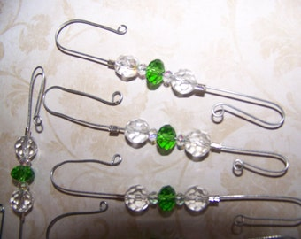 Light Green and Clear Beaded Ornament Hooks