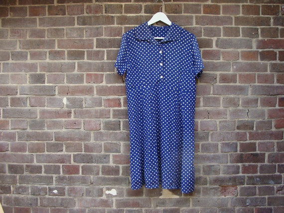 RESERVED 1960 Royal Blue Dress & Polka Dots