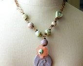 Sale Midnights Garden . ceramic beaded artisan necklace