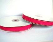 3/8 inch x 50 yds Topstitch/Saddle Stitch Grosgrain Ribbon --- FUCHSIA/APPLE GREEN