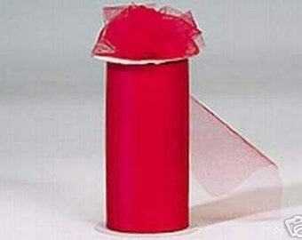 6 inch x 300 ft Nylon Tulle Roll -- RED
