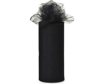 6 inch x 75 ft Nylon Tulle Roll -- BLACK