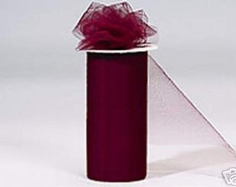 6 inch x 75 ft Nylon Tulle Roll -- BURGUNDY