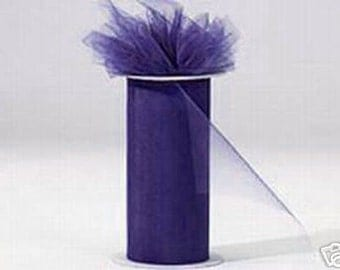 6 inch x 75 ft Nylon Tulle Roll -- DARK PURPLE