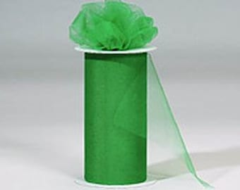 6 inch x 75 ft Nylon Tulle Roll -- KELLY GREEN