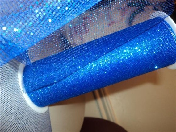 6 inch by 10 yard GLITTER TULLE - Royal Blue