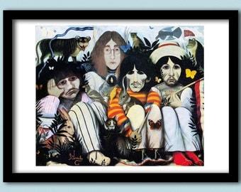 "Beatles Poster. White Album "" A Doll's House"" poster. A2 size. Beatles art.60s rock poster. Classic rock. Album art. Beatles painting."
