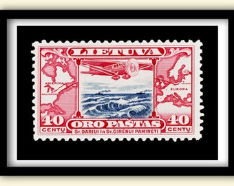 Postage Stamp Print  Vintage 1934  FIrst Trans Atlantic Air Mail  60x40 cms. (A2) Poster